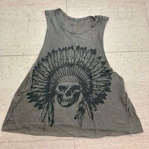 Brandy Melville Gray Cutout Indian Chief Tank Top